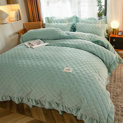 2020新款宝宝绒绗缝床裙四件套-格调 1.5m床单款四件套 格调-薄荷绿