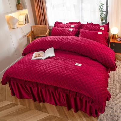 2020新款宝宝绒绗缝床裙四件套-格调 1.5m床单款四件套 格调-富贵红