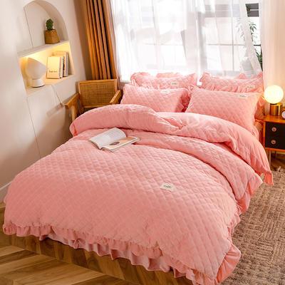 2020新款宝宝绒绗缝床裙四件套-格调 1.8m床单款四件套 格调-蜜桃粉