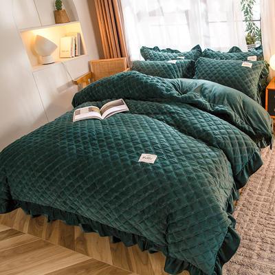 2020新款宝宝绒绗缝床裙四件套-格调 1.8m床单款四件套 格调-墨绿