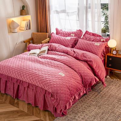 2020新款宝宝绒绗缝床裙四件套-格调 1.5m床单款四件套 格调-暖豆沙