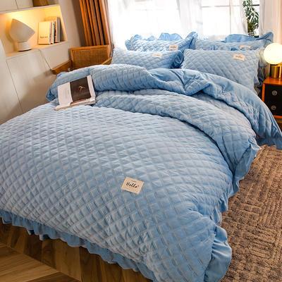 2020新款宝宝绒绗缝床裙四件套-格调 1.5m床单款四件套 格调-天空蓝