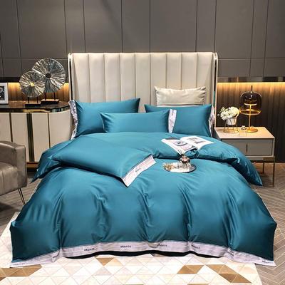 2021新款100S长绒棉刺绣四件套—绅士系列(提供买家秀) 1.8m床单款四件套 绅士-宾利蓝