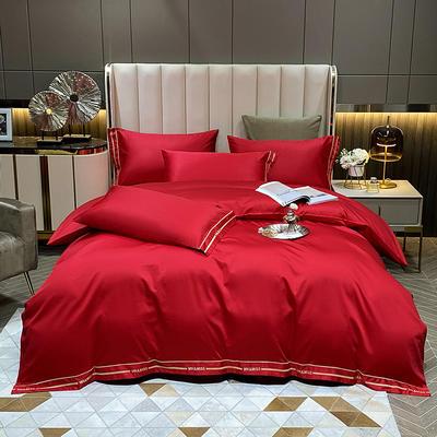2021新款100S长绒棉刺绣四件套—绅士系列(提供买家秀) 1.8m床单款四件套 绅士-大红