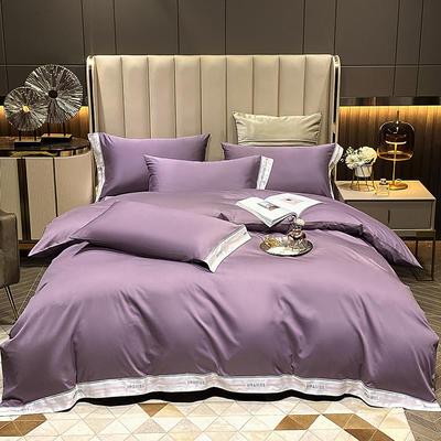 2021新款100S长绒棉刺绣四件套—绅士系列(提供买家秀) 1.8m床单款四件套 绅士-浪漫紫