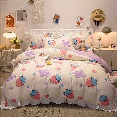 2021新款13372全棉花边款四件套 1.5m床单款四件套 小仙莓白-花边款