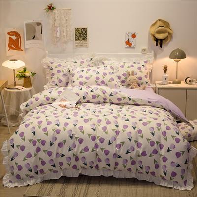 2021新款13372全棉花边款四件套 1.5m床单款四件套 郁金香紫-花边款