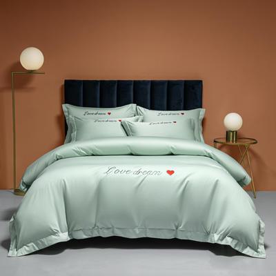 2021新款100S长绒棉四件套—爱心系列 1.8m床单款四件套 爱心-薄荷绿