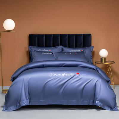 2021新款100S长绒棉四件套—爱心系列 1.8m床单款四件套 爱心-宝石蓝