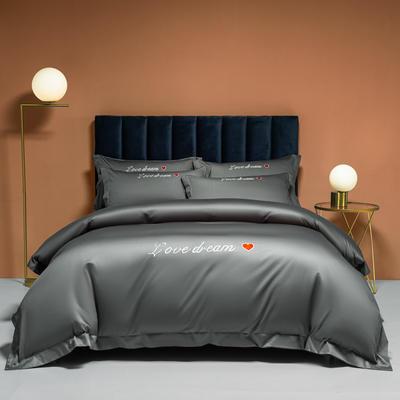 2021新款100S长绒棉四件套—爱心系列 1.8m床单款四件套 爱心-高级灰