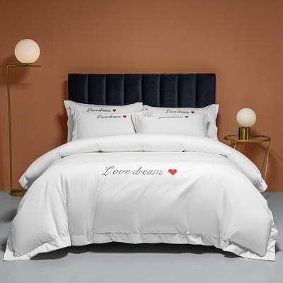 2021新款100S长绒棉四件套—爱心系列 1.8m床单款四件套 爱心-贵族白
