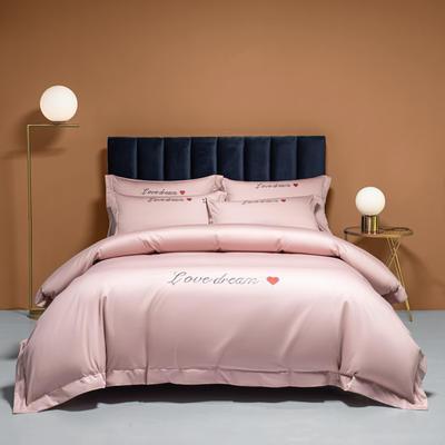 2021新款100S长绒棉四件套—爱心系列 1.8m床单款四件套 爱心-玫瑰粉