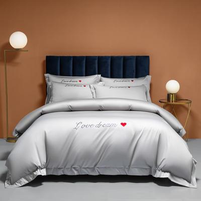 2021新款100S长绒棉四件套—爱心系列 1.8m床单款四件套 爱心-浅灰