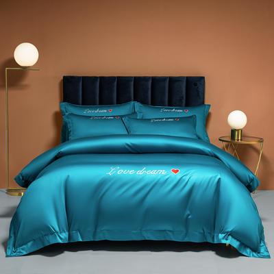 2021新款100S长绒棉四件套—爱心系列 1.8m床单款四件套 爱心-月光蓝