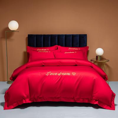 2021新款100S长绒棉四件套—爱心系列 1.8m床单款四件套 爱心-中国红