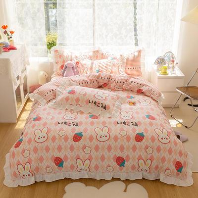 2021新款13372全棉花边款四件套 1.5m床单款四件套 可爱兔-花边款