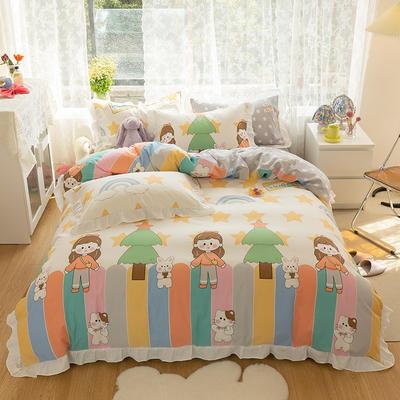 2021新款13372全棉花边款四件套 1.5m床单款四件套 莫格利女孩-花边款