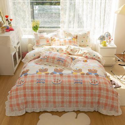 2021新款13372全棉花边款四件套 1.5m床单款四件套 甜心派对-粉-花边款