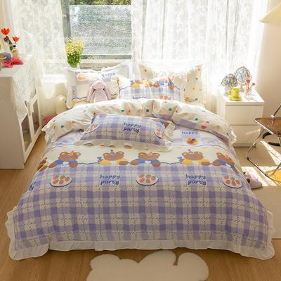2021新款13372全棉花边款四件套 1.5m床单款四件套 甜心派对-蓝-花边款