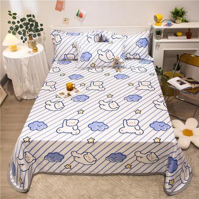 2021新款可水洗冰丝床单款凉席三件套 1.5m三件套 泰迪熊