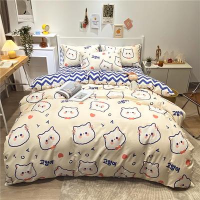 2021新款全棉印花四件套 1.5m床单款四件套 猫咪生活