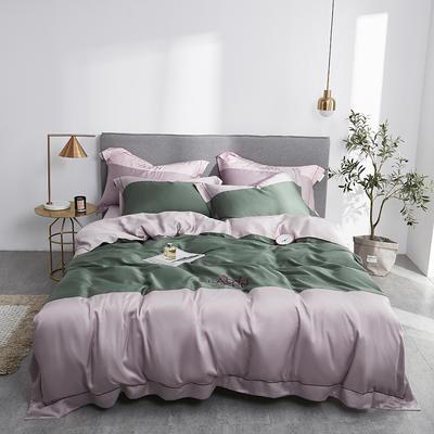2019新款60双面兰精天丝拼接刺绣系列套件--女神系列 1.8m(6英尺)床 香草绿+草莓粉