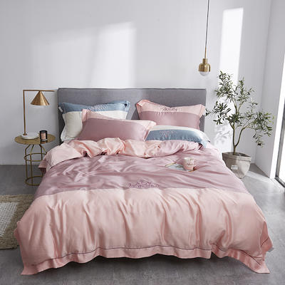 2019新款60双面兰精天丝拼接刺绣系列套件--女神系列 1.8m(6英尺)床 樱花紫+草莓粉