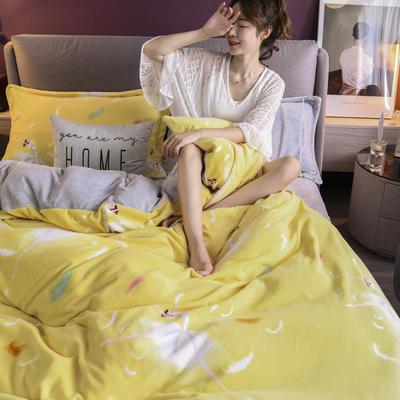 2020新款保暖绒系列——臻棉绒四件套 1.2m床单款三件套 芭蕾公主——鹅黄