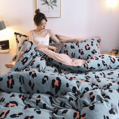2020新款保暖绒系列——臻棉绒四件套 1.5m床单款 时尚豹纹