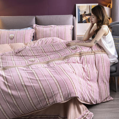 2020新款保暖绒系列——臻棉绒四件套 1.5m床单款 英伦生活——粉