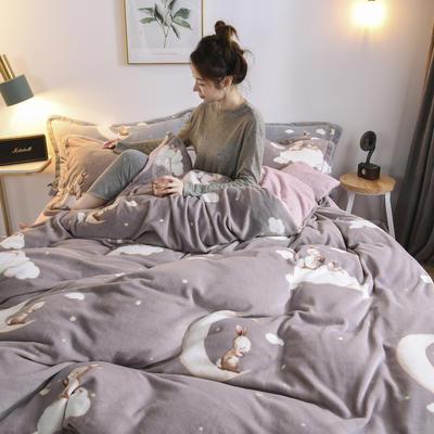 2020新款保暖绒系列——臻棉绒四件套 1.2m床单款三件套 月兔——浅豆沙