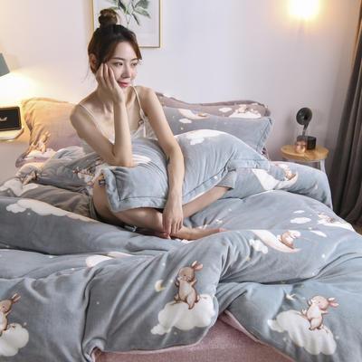 2020新款保暖绒系列——臻棉绒四件套 1.2m床单款三件套 月兔——浅灰绿