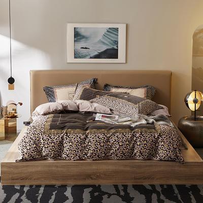 2019新款保暖绒系列——毛呢绒四件套 1.8m床单款四件套 天生豹款—咖