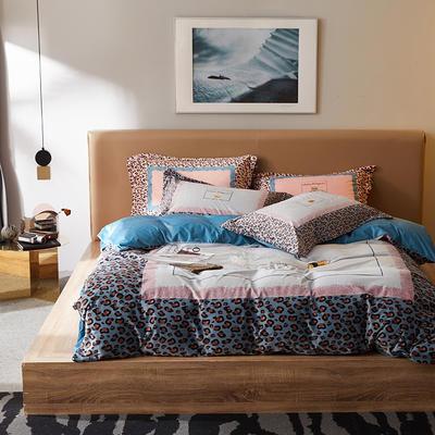 2019新款保暖绒系列——毛呢绒四件套 1.8m床单款四件套 天生豹款—蓝