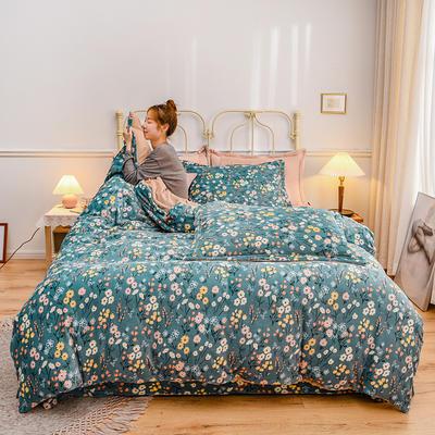 2020新款臻棉绒印花四件套----模特图 1.8m床单款四件套 里加