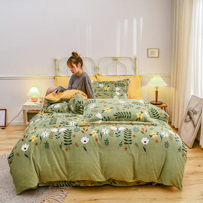2020新款臻棉绒印花四件套----模特图 1.8m床单款四件套 蜜语悠然