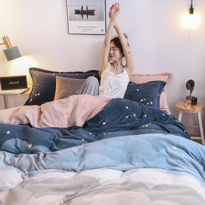 2020新款臻棉绒印花四件套----模特图 1.5m床单款四件套 星空