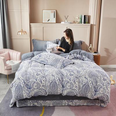 2020新款臻棉绒专版印花四件套----模特图 1.5m床单款四件套 巴塞罗那-蓝