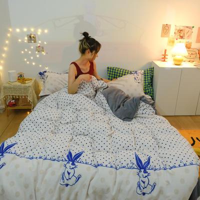 2020新款臻棉绒专版印花四件套----模特图 1.5m床单款四件套 兔兔心愿-米