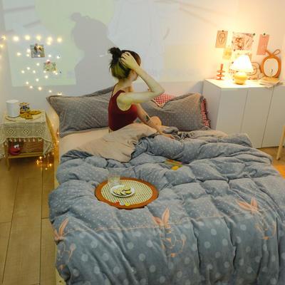2020新款臻棉绒专版印花四件套----模特图 1.2m床单款三件套 兔兔心愿-灰