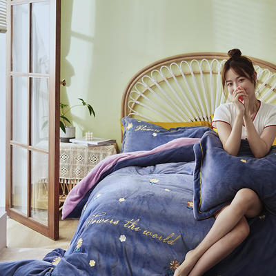 2020新款工艺款绣花专版花型四件套----时尚款绣花(专版) 1.8m床单款四件套 缤纷世界紫
