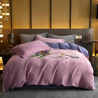 2020新款工艺款绣花专版花型四件套---中式款绣花(专版) 1.8m床单款四件套 采荷藕紫