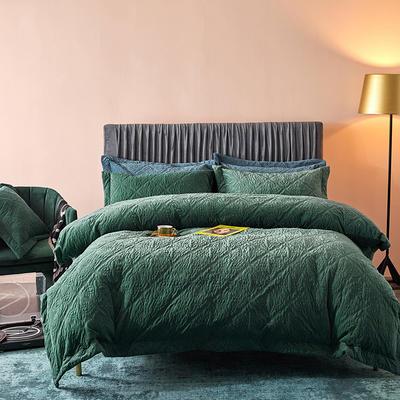 2020秋冬新品多功能床盖夹棉四件套/三件套 1.8m床单款四件套 橄榄绿