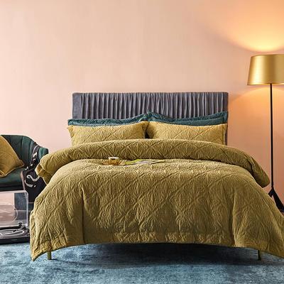 2020秋冬新品多功能床盖夹棉四件套/三件套 1.5m床单款四件套 琥珀黄