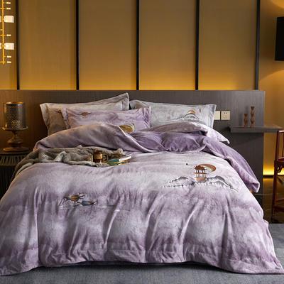 2020新款绵羊绒绣花功能四件套 1.8m床单款四件套 山水生活-淡紫