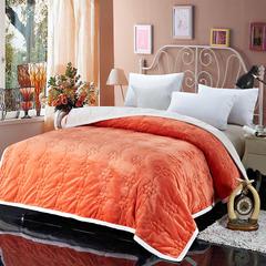 法兰家纺2018新品法兰绒加厚毛毯繁华被毯 150cm*200cm 桔色