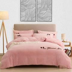 法兰家纺2018新品法兰绒纯色绣花四件套-左岸 1.5m(5英尺)床 粉色