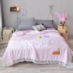 傲蕾良品高端被芯    爆款50s天丝刺绣夏被 200X230cm(送包装) 粉色