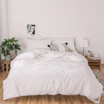 傲蕾良品60s全棉提花+绣花特级双宫桑蚕丝被春秋被冬被 夏被:200X230cm 白色