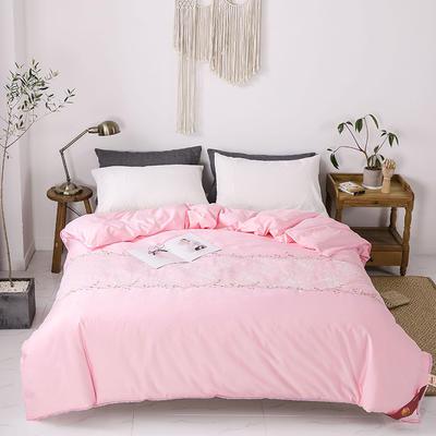 傲蕾良品正宗100%特级双宫桑蚕丝被专版绣花蕾丝全棉夏被冬被 夏被:200X230cm 粉色